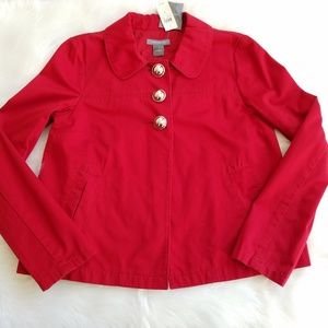 Ann Taylor NWT Red Silver Button Jacket